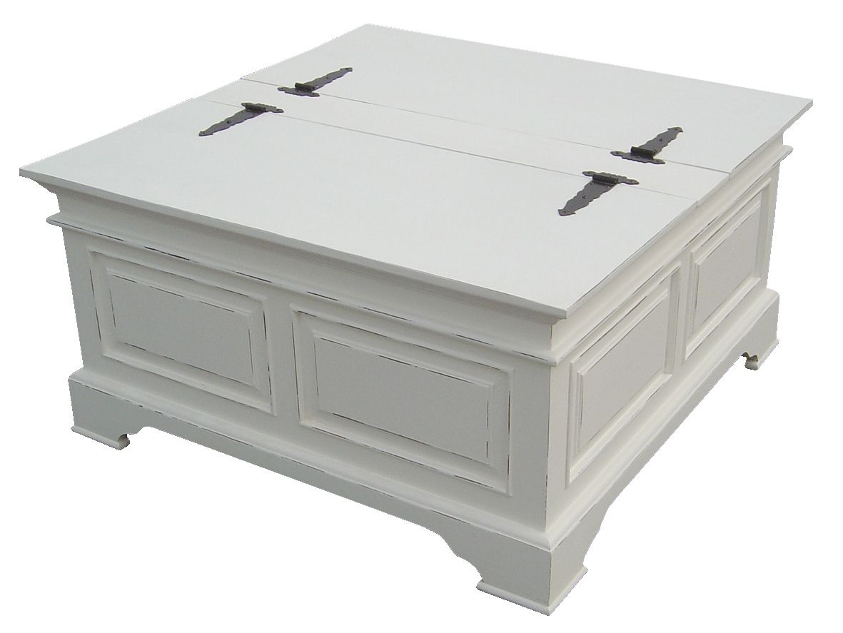 Square Trunk Coffee Table Ideas With Kristina White Painted Shabby