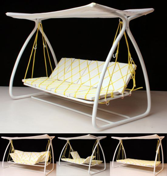 Swinging Bed Doubles As A Sun Bed, Lounge Chair Or A Futon For Two