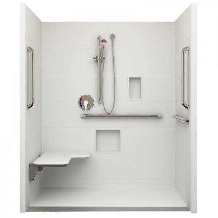 "62"" X 32"" ADA Roll In Shower, Linear Trench Drain, Left"