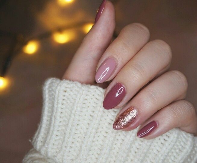 Dark Pink Light Pink And Glitter Almond Nails Nails