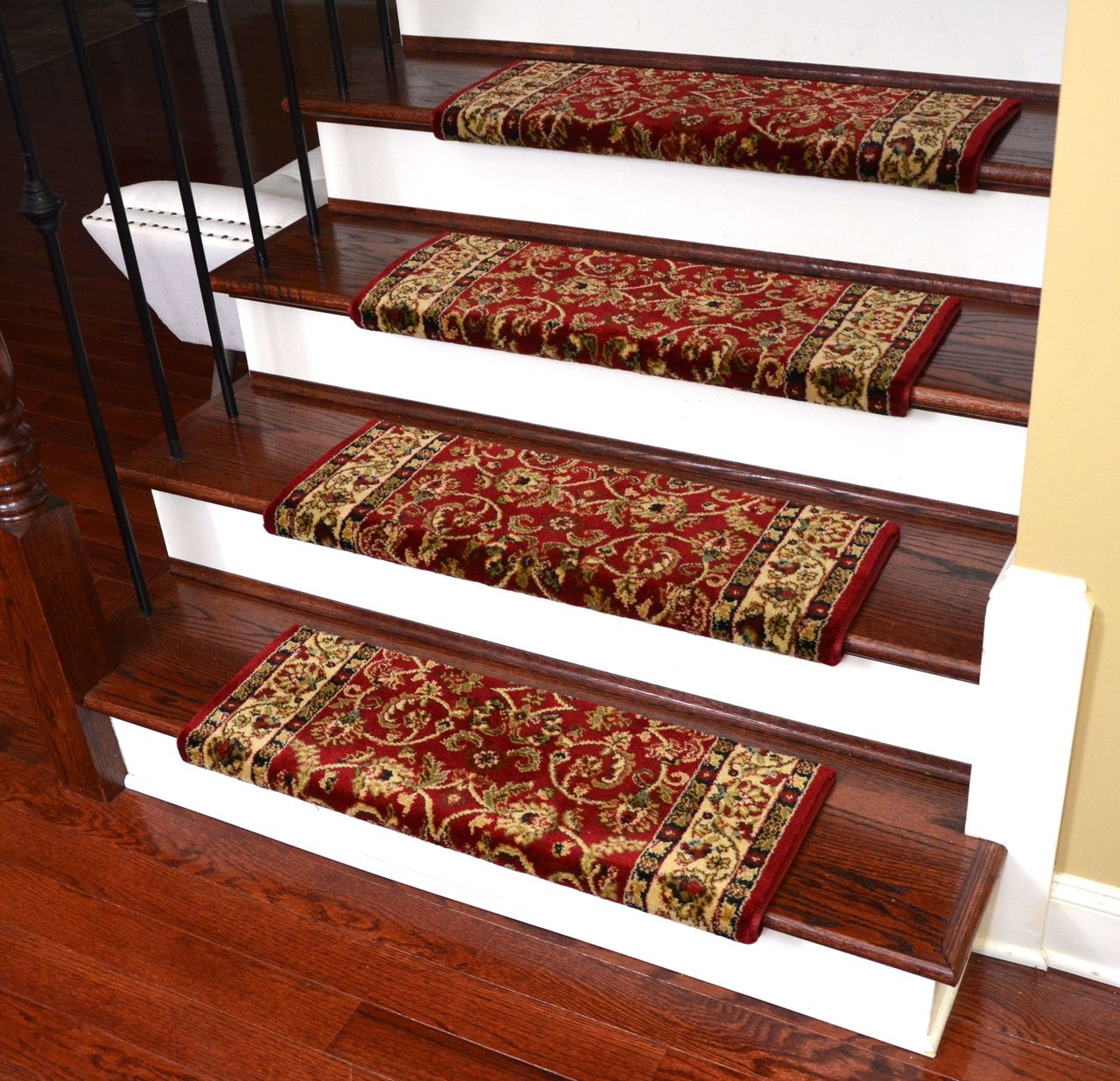 Dean Non Slip Tape Free Pet Friendly Stair Gripper Bullnose Carpet Stair Treads Classic Keshan Claret Red 31 W 3 Bullnose Carpet Stair Treads Carpet Stair Treads Carpet Stairs