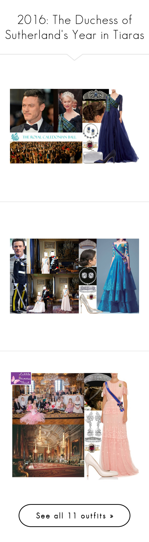 """""""2016: The Duchess of Sutherland's Year in Tiaras"""" by marywindsor ❤ liked on Polyvore featuring Monique Lhuillier, Bulgari, Alexander McQueen, Manolo Blahnik, accessories, hair accessories, tiaras, crowns, tiara crown and rose crowns"""
