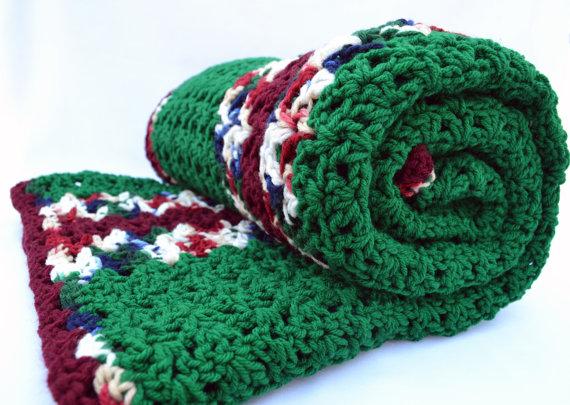 Verde variegadas ganchillo afgano manta de viaje manta de | Crochet ...