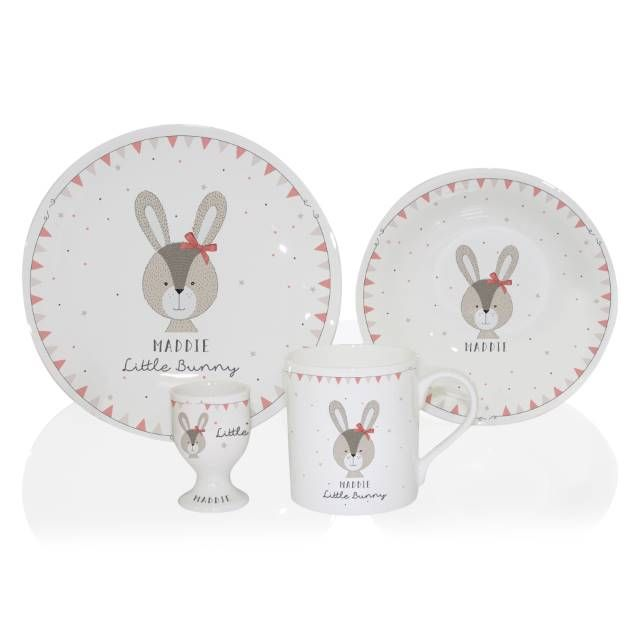 Little Bunny Breakfast Set (Pink) - Breakfast set, 1st birthdays, Bunny, Pink, Name day, Lovely gift - Our Personalised Little Bunny Breakfast Set makes a lovely gift for Christenings, Naming Days, 1st Birthdays or Easter  Shop now for Breakfast & Dinner Sets
