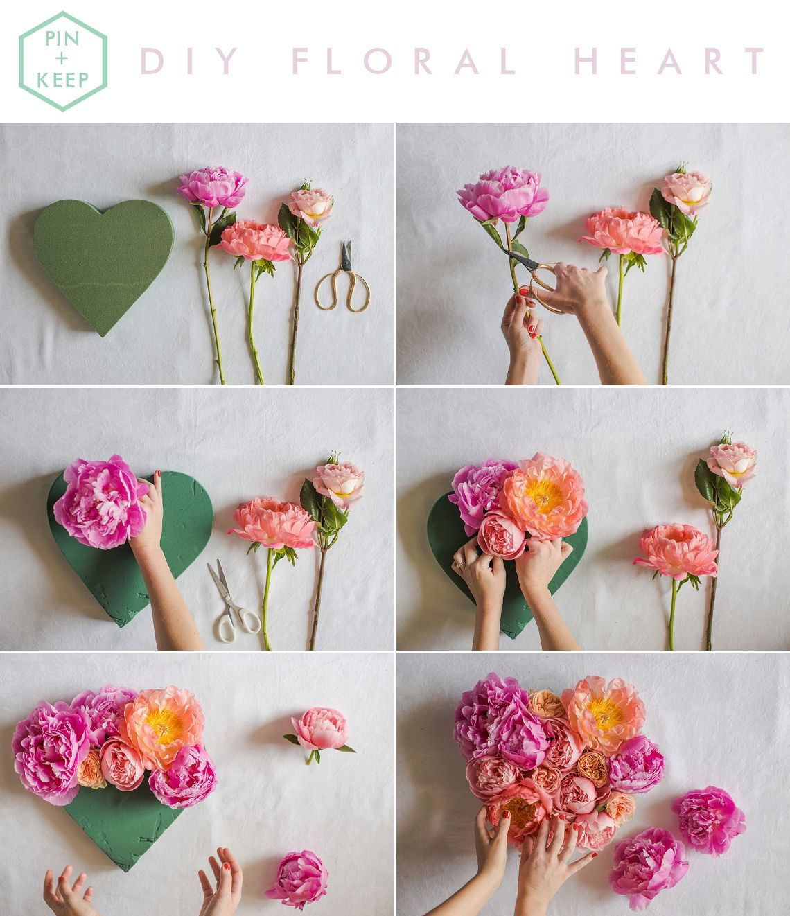 Fresh Floral Heart DIY Tutorial | Peony, Tutorials and Floral