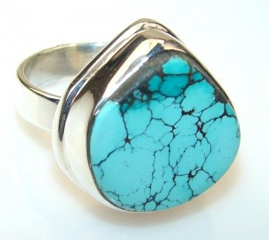 Perfect Turquoise Sterling Silver ring s. 8