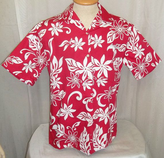 2e211a92 Vintage Men's Island Traditions of Hawaii Hawaiian Shirt Medium Coca Cola Red  Hibiscus by ShonnasVintage