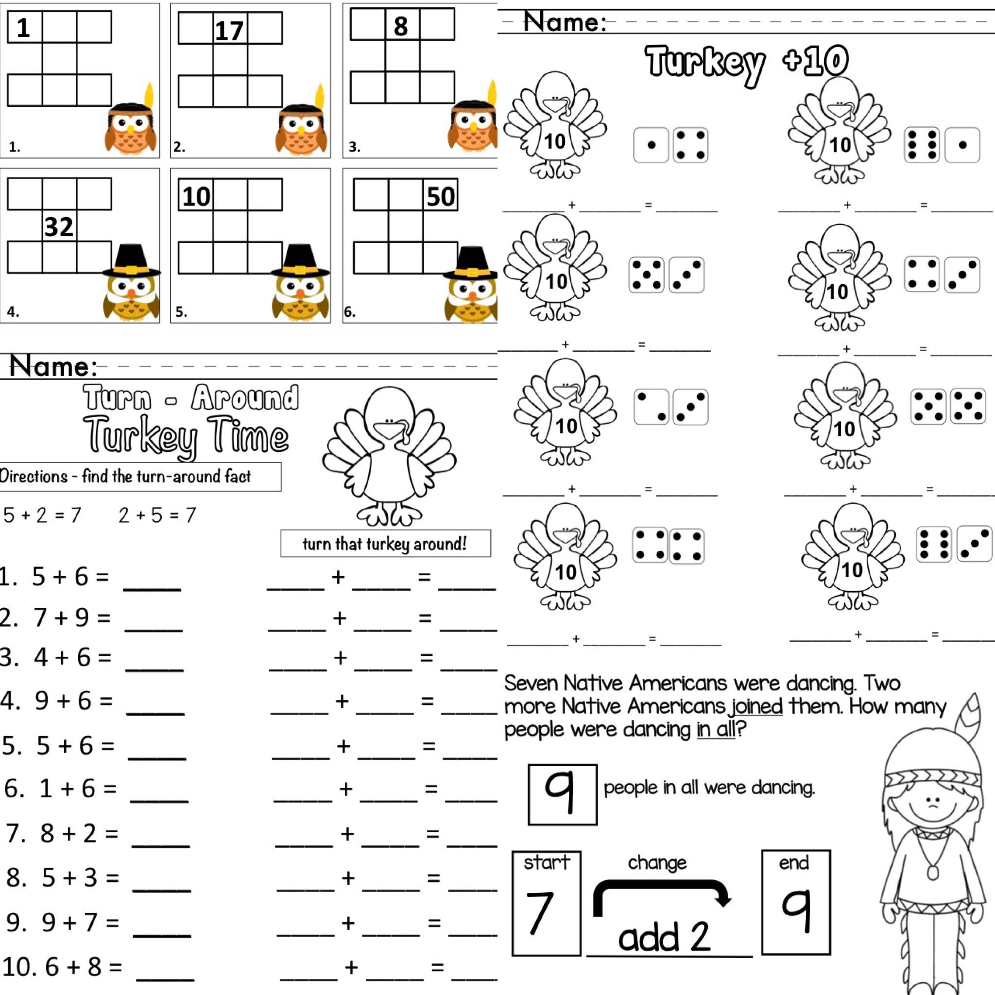 Thanksgiving Fall Math For Primary Adding 10 Change To