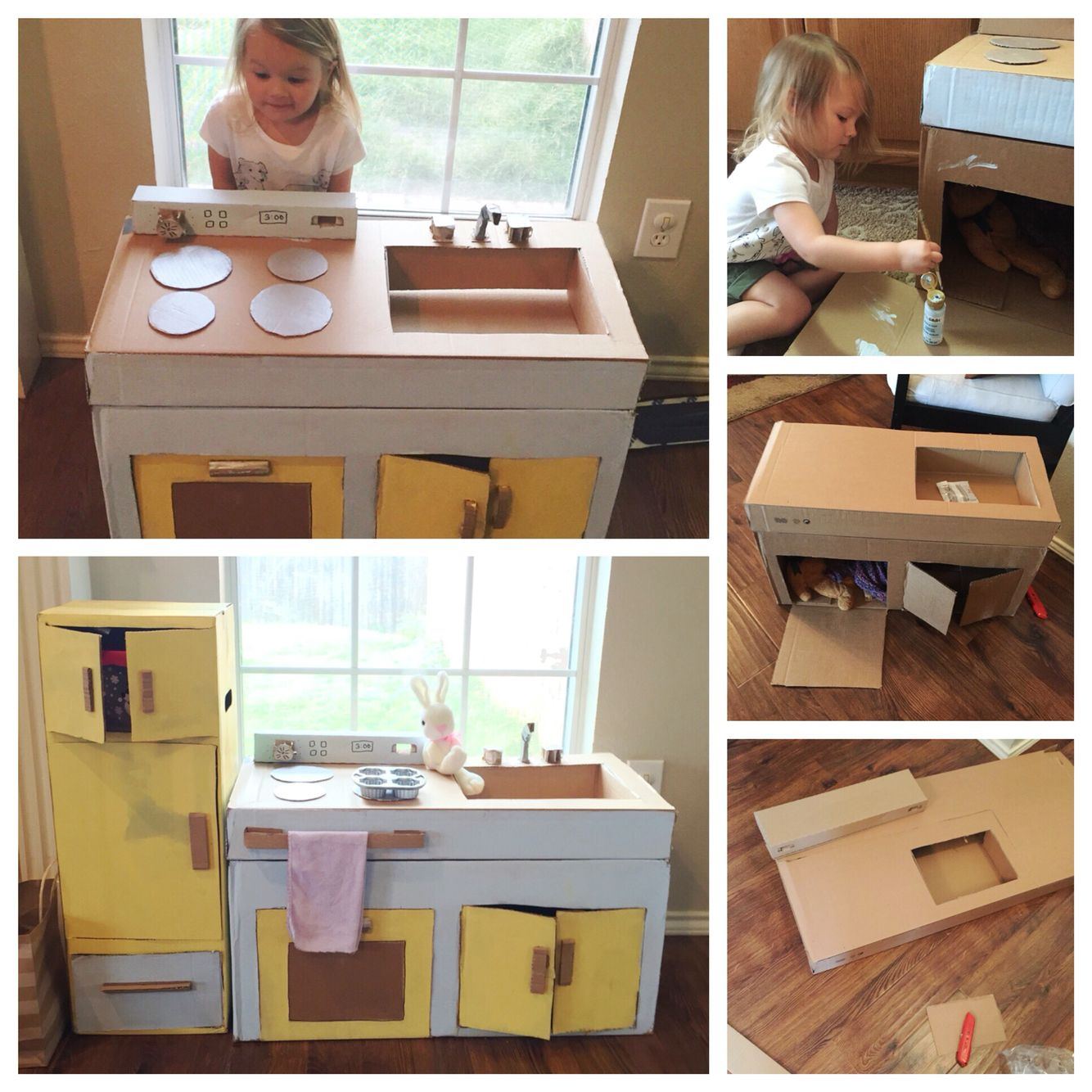 Cardboard play kitchen diy kids kitchen cardboard create for Kitchen crafts to make