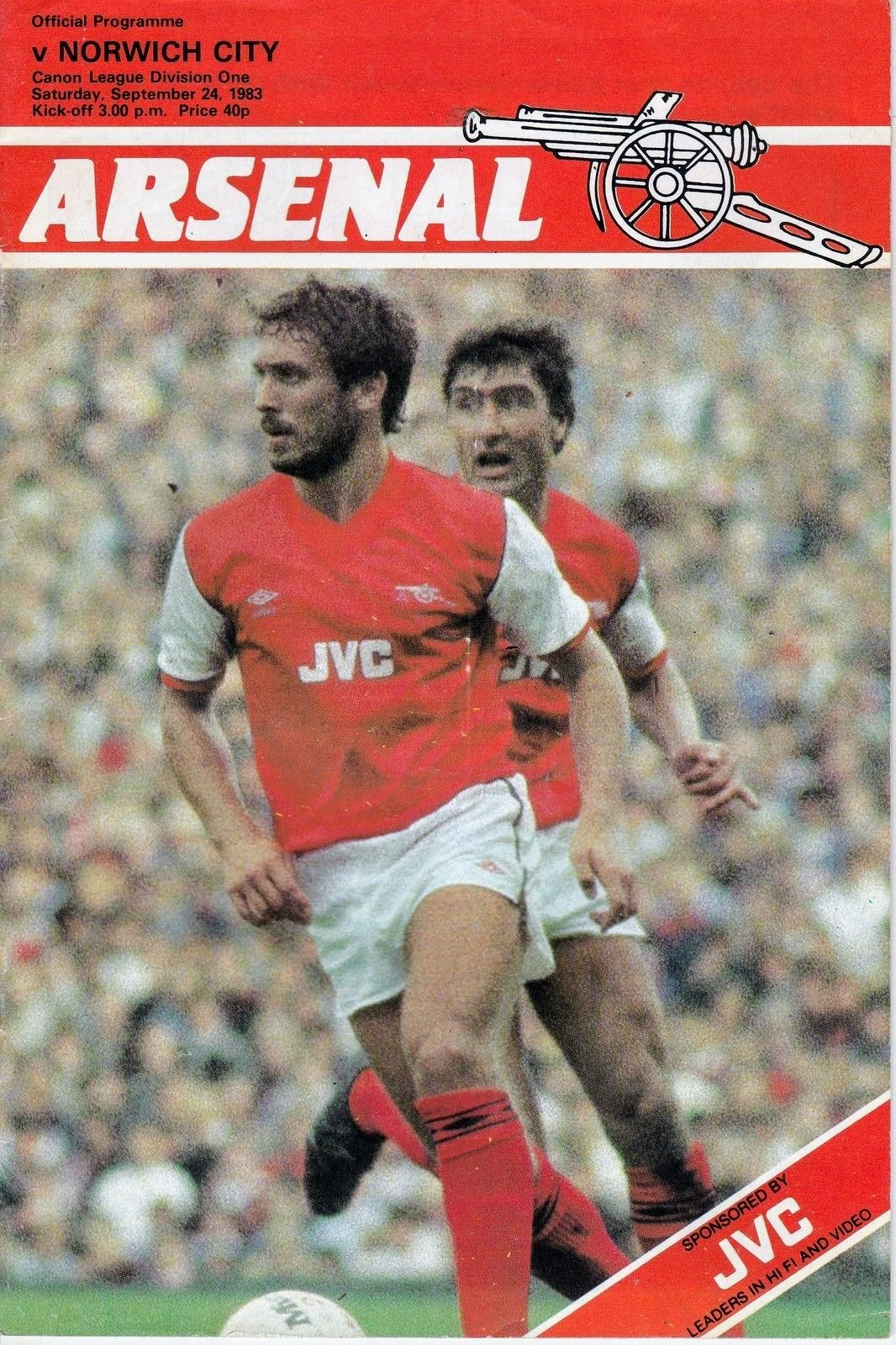 Arsenal 3 Norwich City 0 in Sept 1983 at Highbury. The
