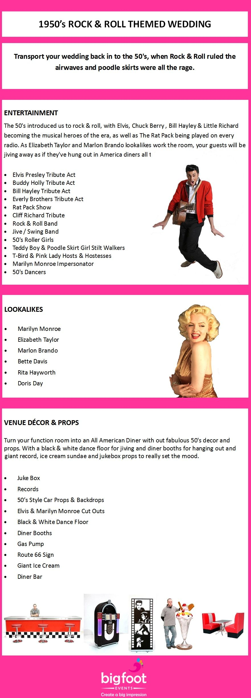 1950\'s Rock & Roll Themed Wedding Ideas. Suggestions for ...
