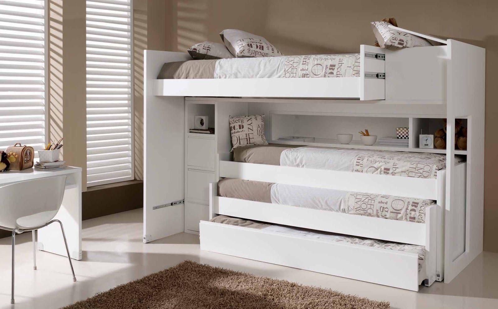Cama tren de 4 camas lacado en blanco sin colchones 3 - Literas lacadas en blanco ...