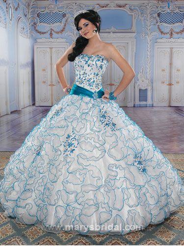Quince Decorations Blue | Blue Quinceanera Dresses, Blue ...