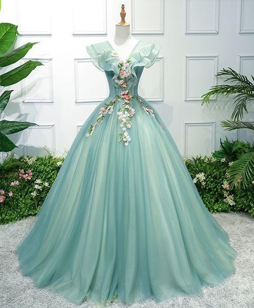 Green v neck tulle long prom dress, green evening dress