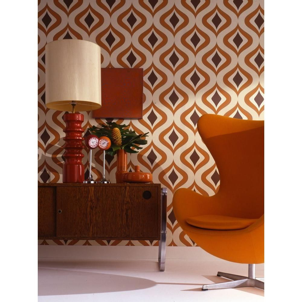 Graham & Brown Trippy Orange Removable Wallpaper 15195 - The Home Depot