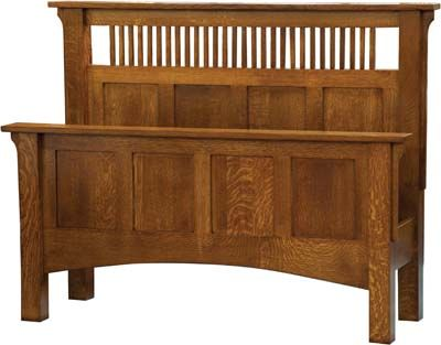 Mission Bedroom Furniture Plans Arts And Crafts Spindle Panel Bed Solid Wood Customizable