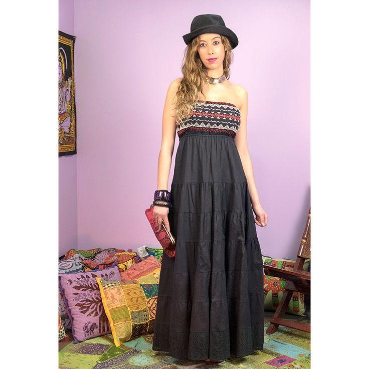 Vestido largo bordado con estilo muy etnico | Ropa hippie ...