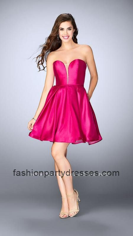 Hot Fuchsia La Femme 24212 Strapless A Line Short Homecoming Dresses ...