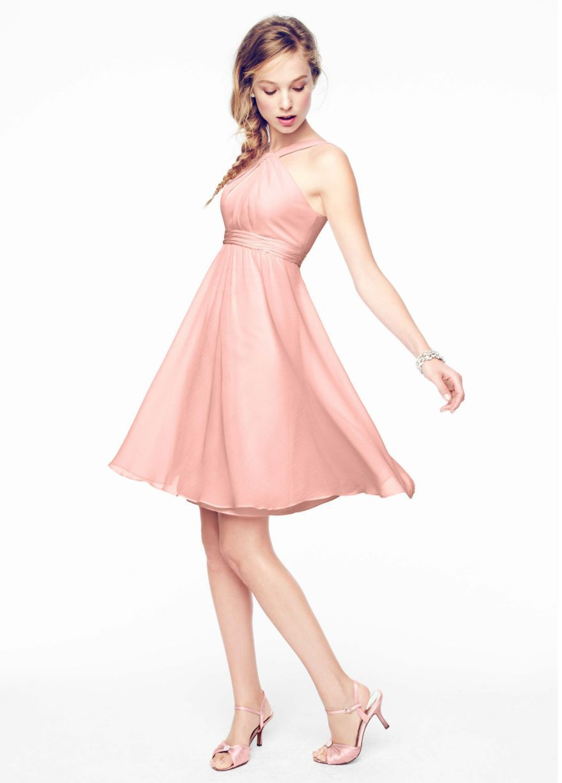 $119 F15600 Ballet Short Crinkle Chiffon Y Neck Dress - David\'s ...