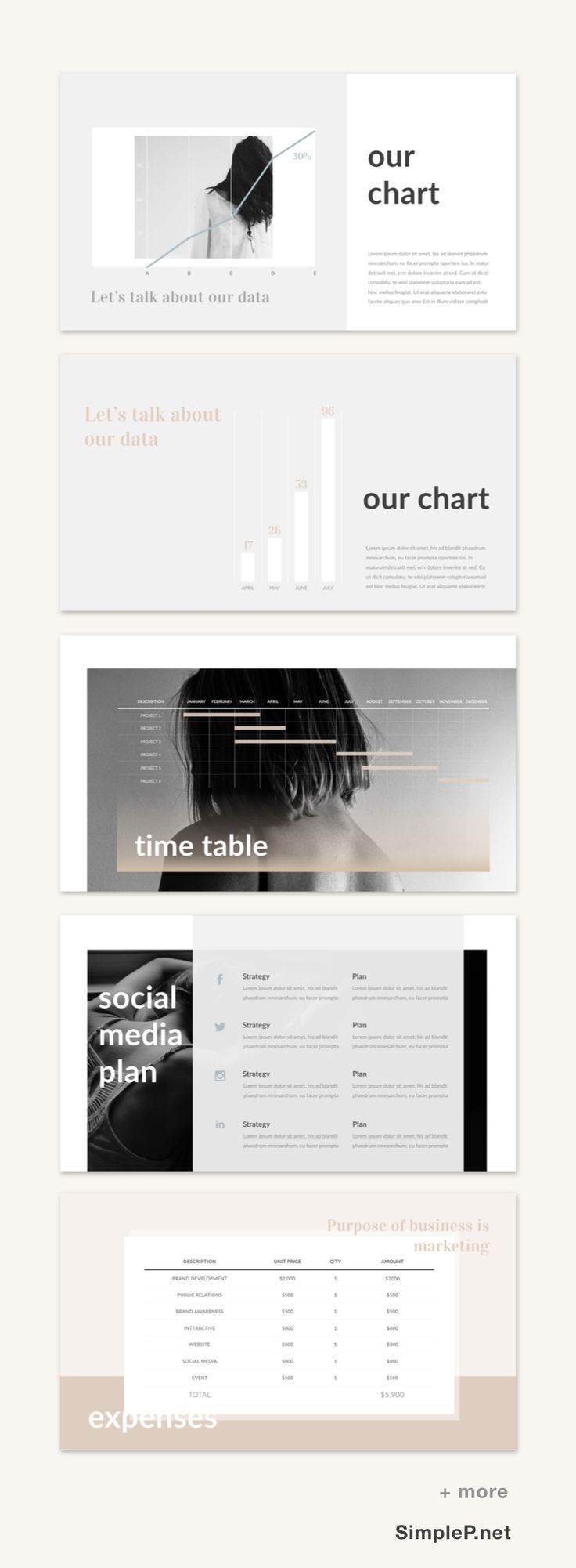 Business Powerpoint Presentation Template Chart Planning Budget