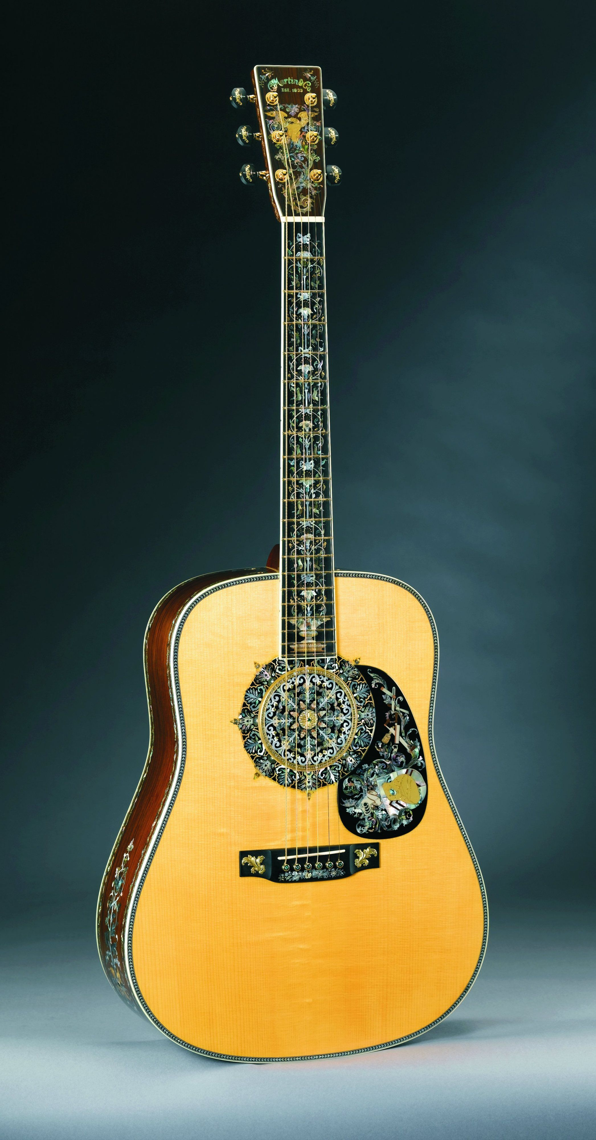 Front of the 1,000,000th guitar by C.F. Martin; custom inlay by ...