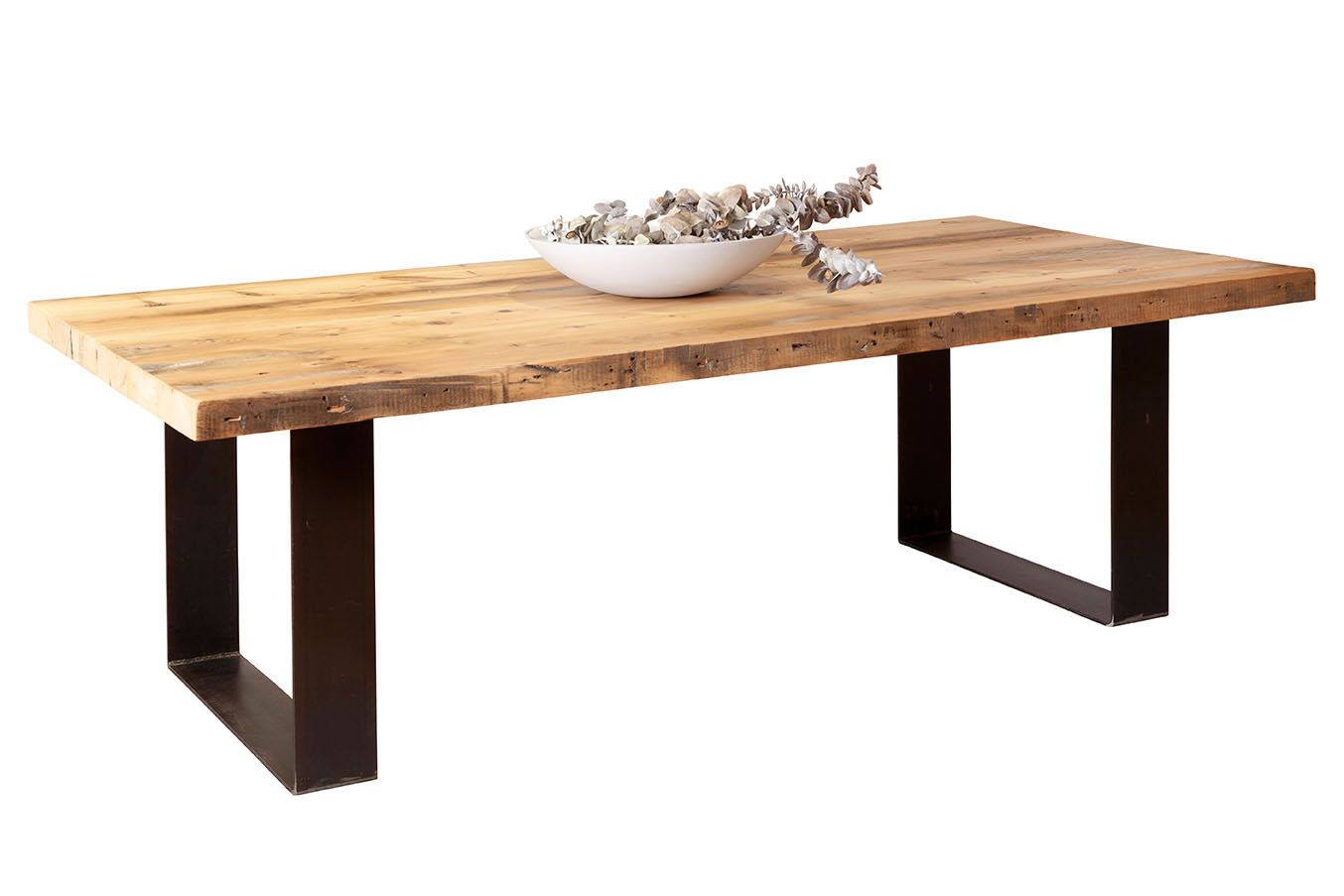 Bespoke Furniture Custom Plaistowe Recycled Baltic Pine Timber Dining Table With Industrial Steel Base