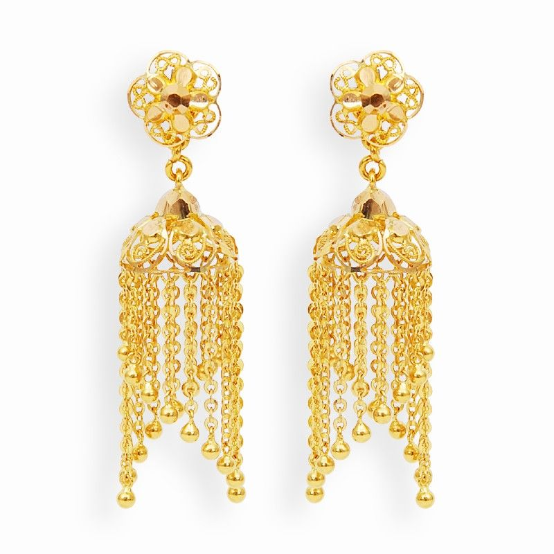 Earrings Gold Jimikki With Hangings GRT Jewellers Gold