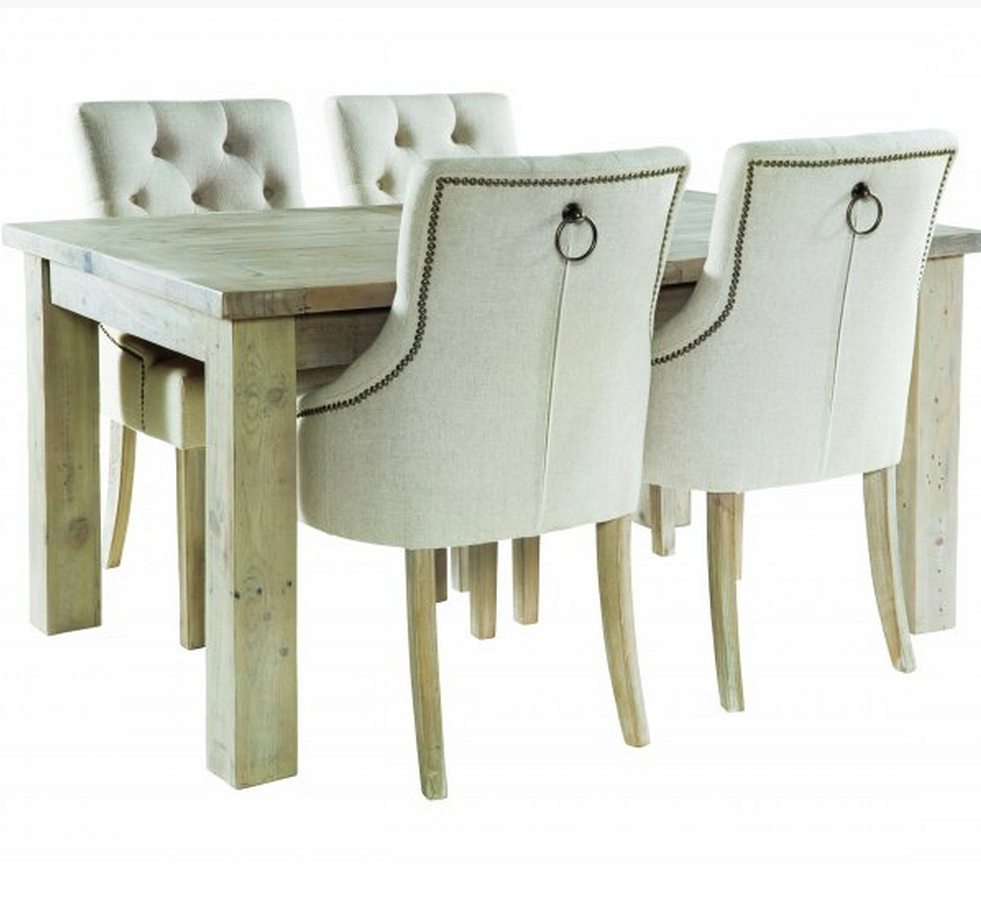 Farringdon Reclaimed Wood Dining Table Cream Chairs Reclaimed