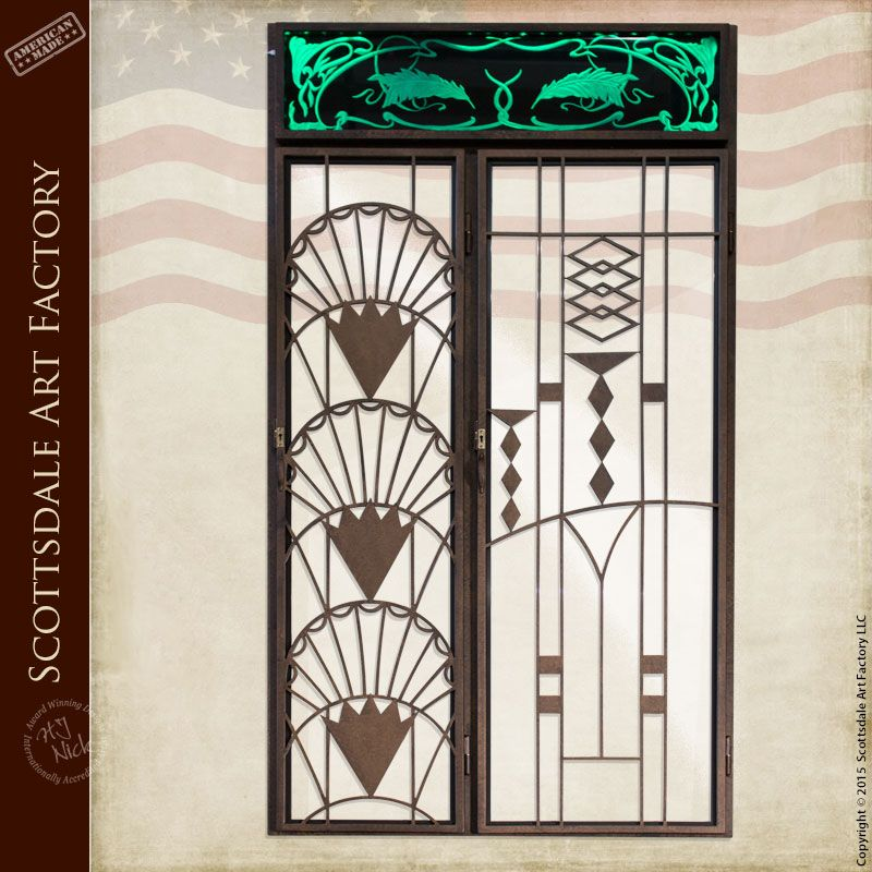 Iron Wine Doors / Lighted Art Deco Etched Glass - WSD802 & Iron Wine Doors / Lighted Art Deco Etched Glass - WSD802 | Security ...