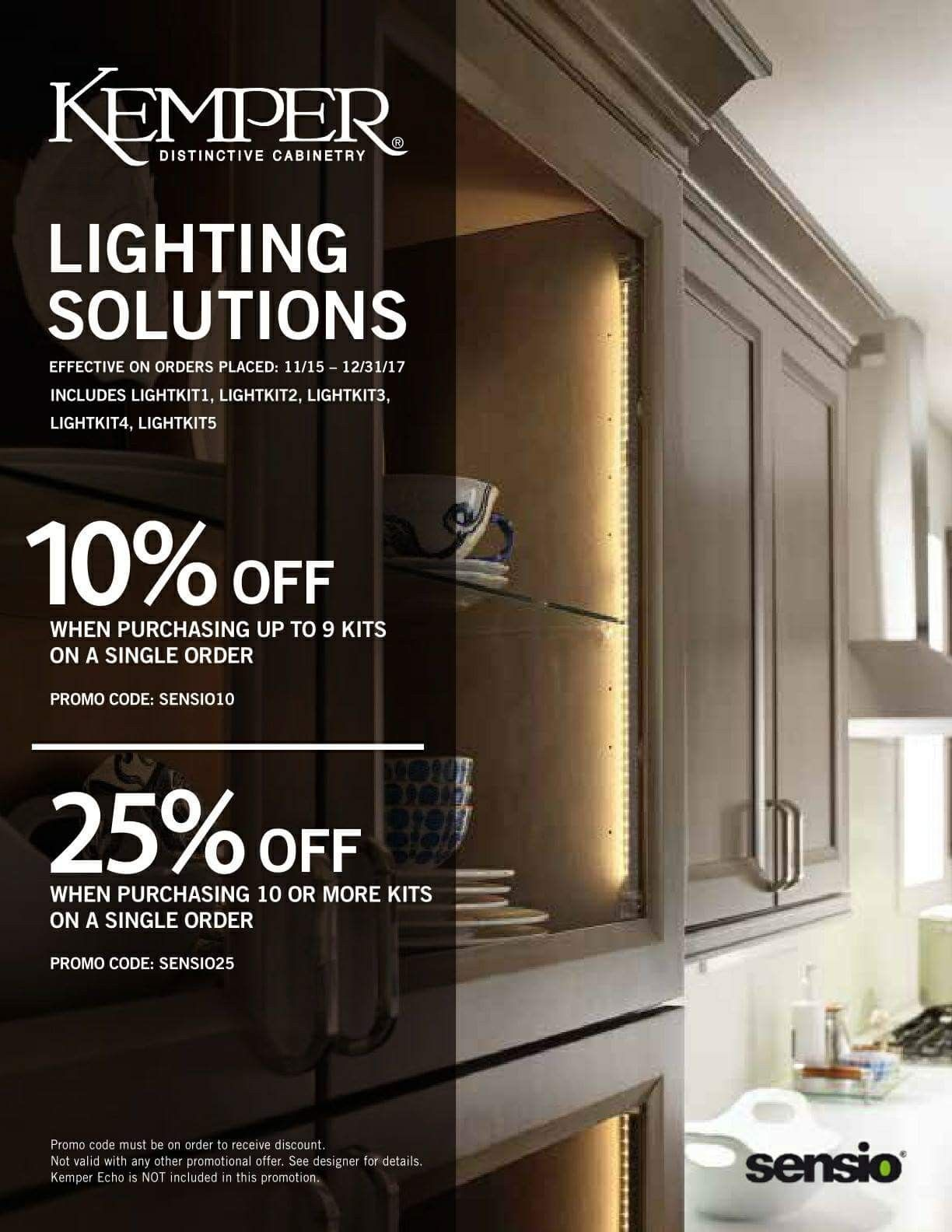 Kemper Sensio Lighting Promotion Want To Add Lighting Order Now And Save Kemper Cabinetry And Sensio Are Excited To Partne Kitchen Sale Kitchen Cabinetry