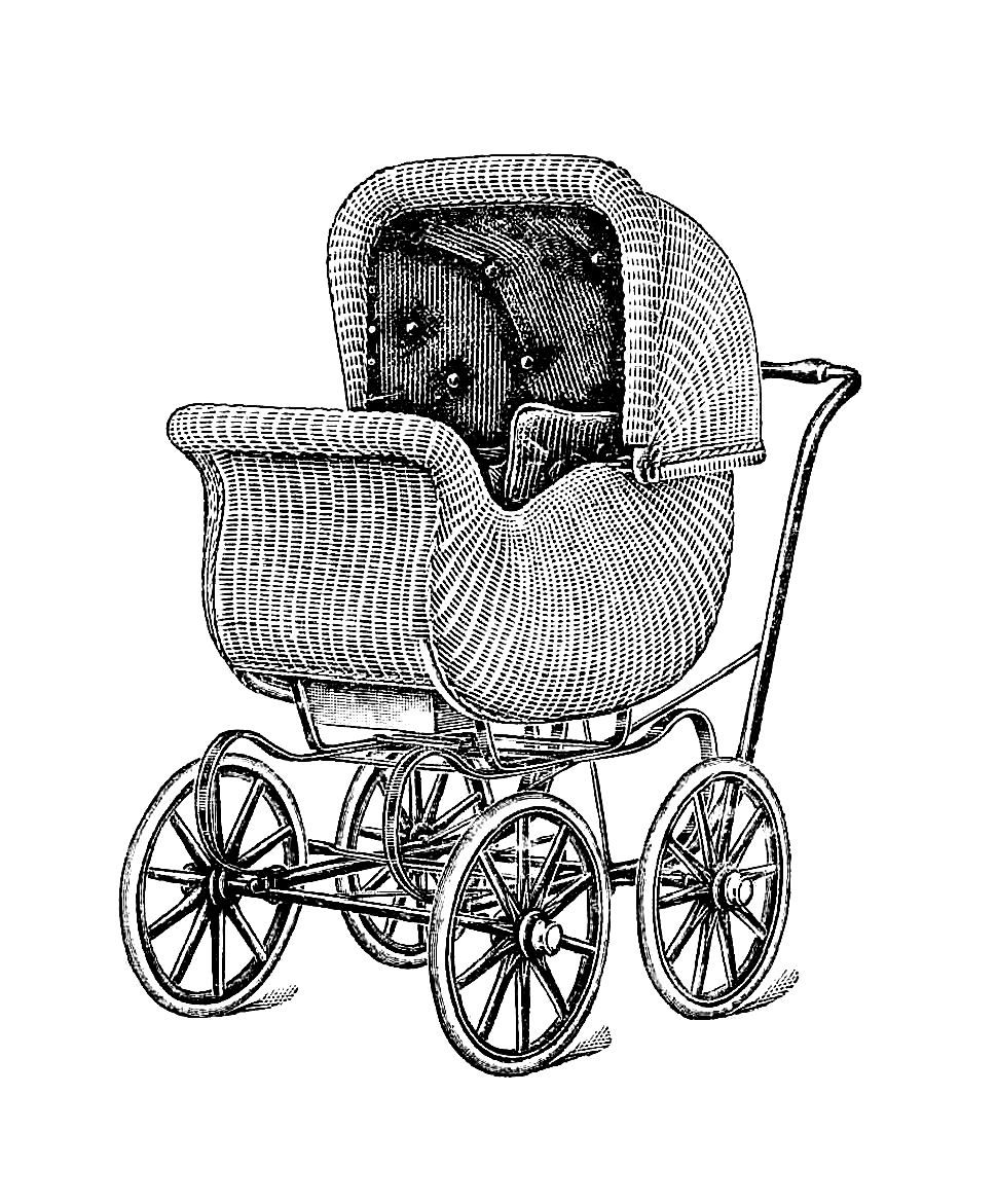 Free Antique Graphic Antique Wicker Baby Carriage Illustration Clip Art Vintage Antique Images Baby Illustration