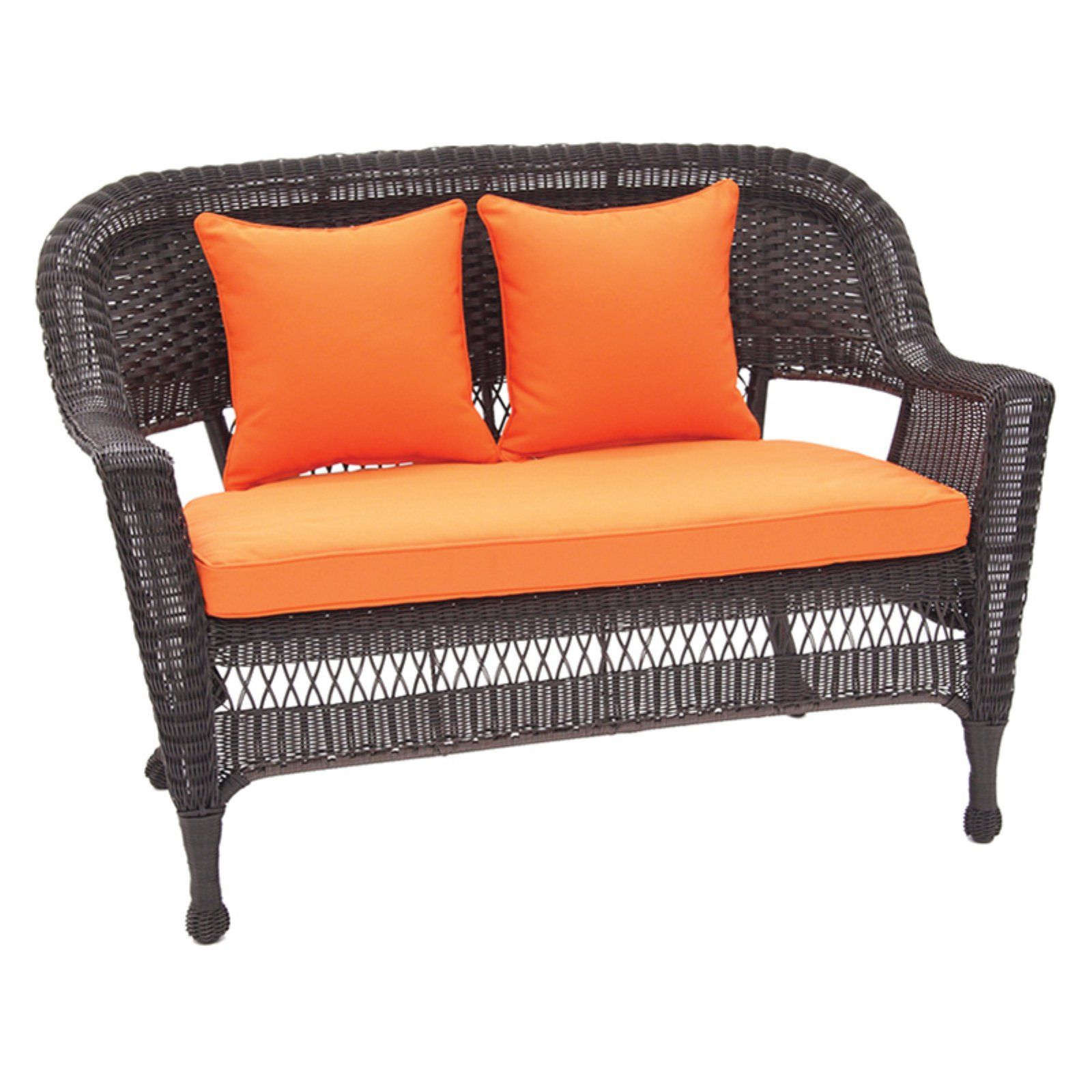Fine Outdoor Jeco Wicker Patio Loveseat With Cushion And Pillows Theyellowbook Wood Chair Design Ideas Theyellowbookinfo