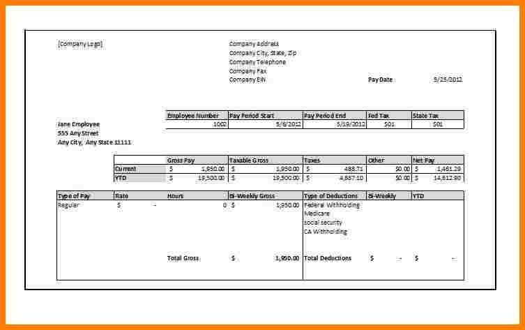 Free Pay Stub Template Recommended 5 Free Fillable Pay Stub