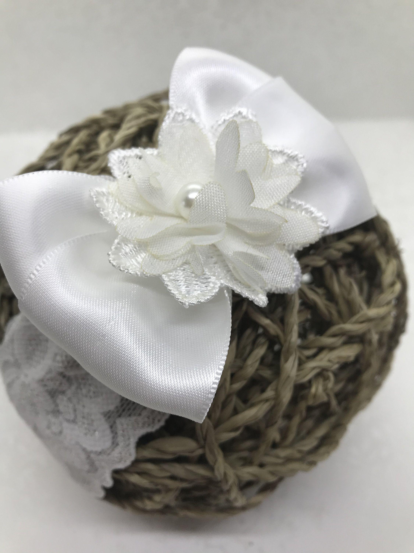 Handmade Flower Christening Wedding Headband Baby Girls Ivory Lace Headband
