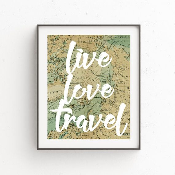 Old Map Wall Print Travel Quote By Ojudesign