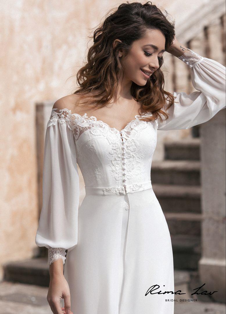Boho Off The Shoulder Long Sleeve Wedding Dress