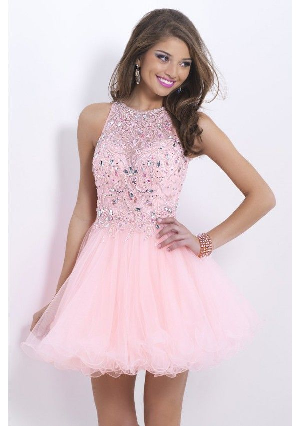 2014 Pink Halter Short Mini Beaded Lace Bodice Homecoming Dress By