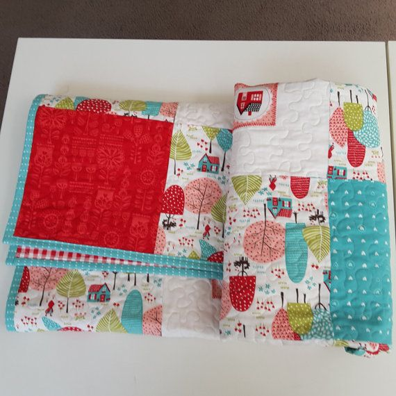 This beautiful red riding hood cot quilt is made from the new ... : nursery quilt fabric - Adamdwight.com