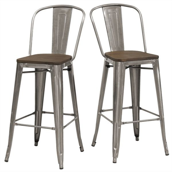 Awe Inspiring Tabouret Bistro Wood Seat Gunmetal Finish Bar Stools Set Of Forskolin Free Trial Chair Design Images Forskolin Free Trialorg
