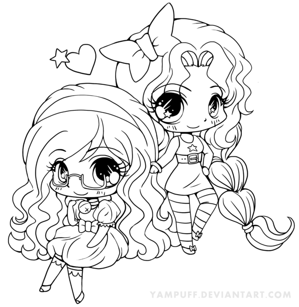 Permission To Color Bell And Star Chibi Lineart By Yampuff