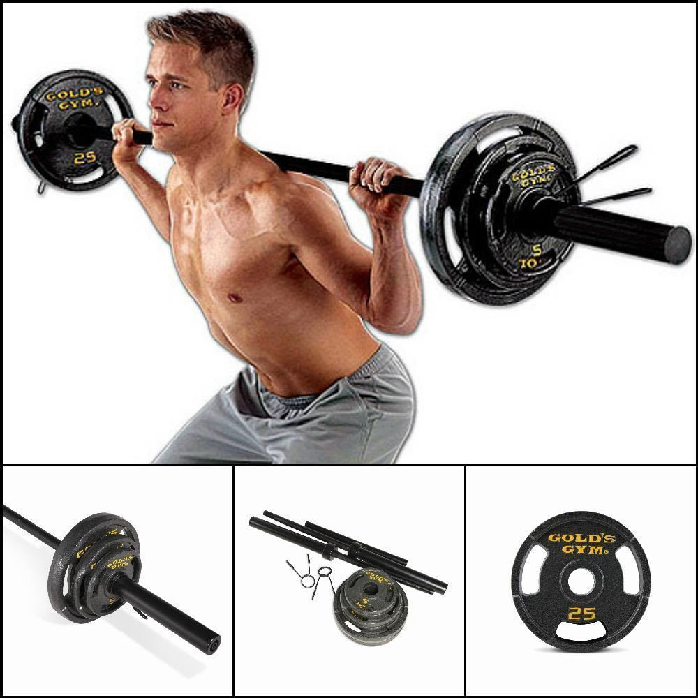50 lb Olympic Plate Set Pair of 25 lb Plates Golds Gym Exercise Weight Lifting