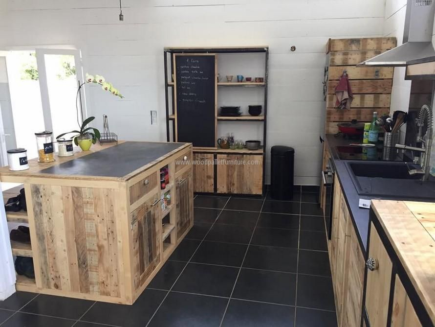 Wood Pallet Powered Kitchen Meuble Cuisine Cuisine En Palette
