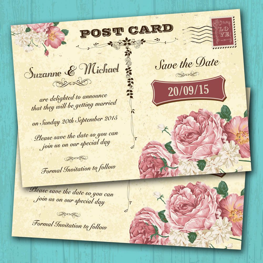 Personalised Wedding Save The Date Cards with Envelopes, Vintage ...