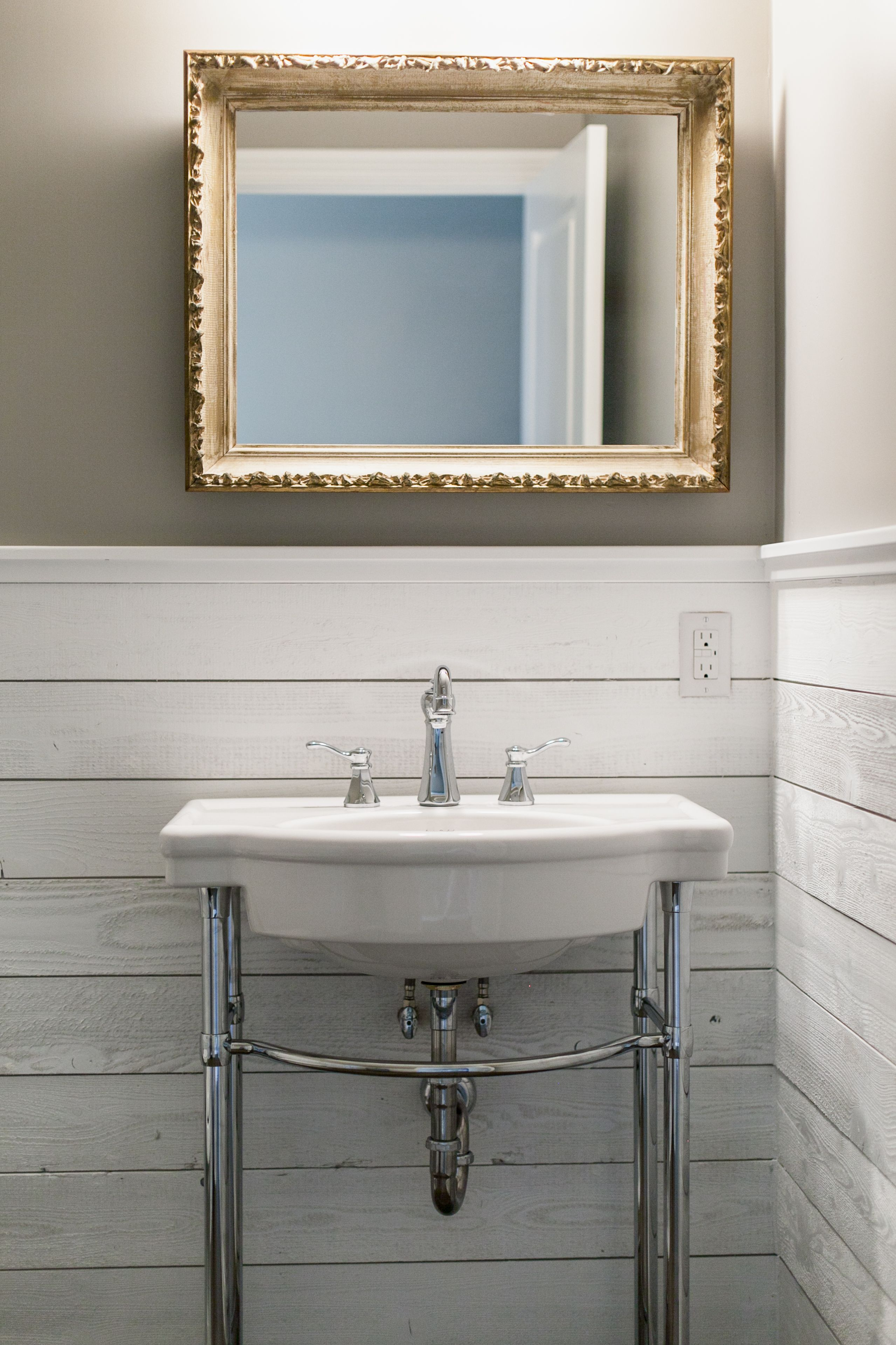 Whitewash Bathroom Vanity Wainscoting With Rough Sawn Planked Walls In A Powder Room