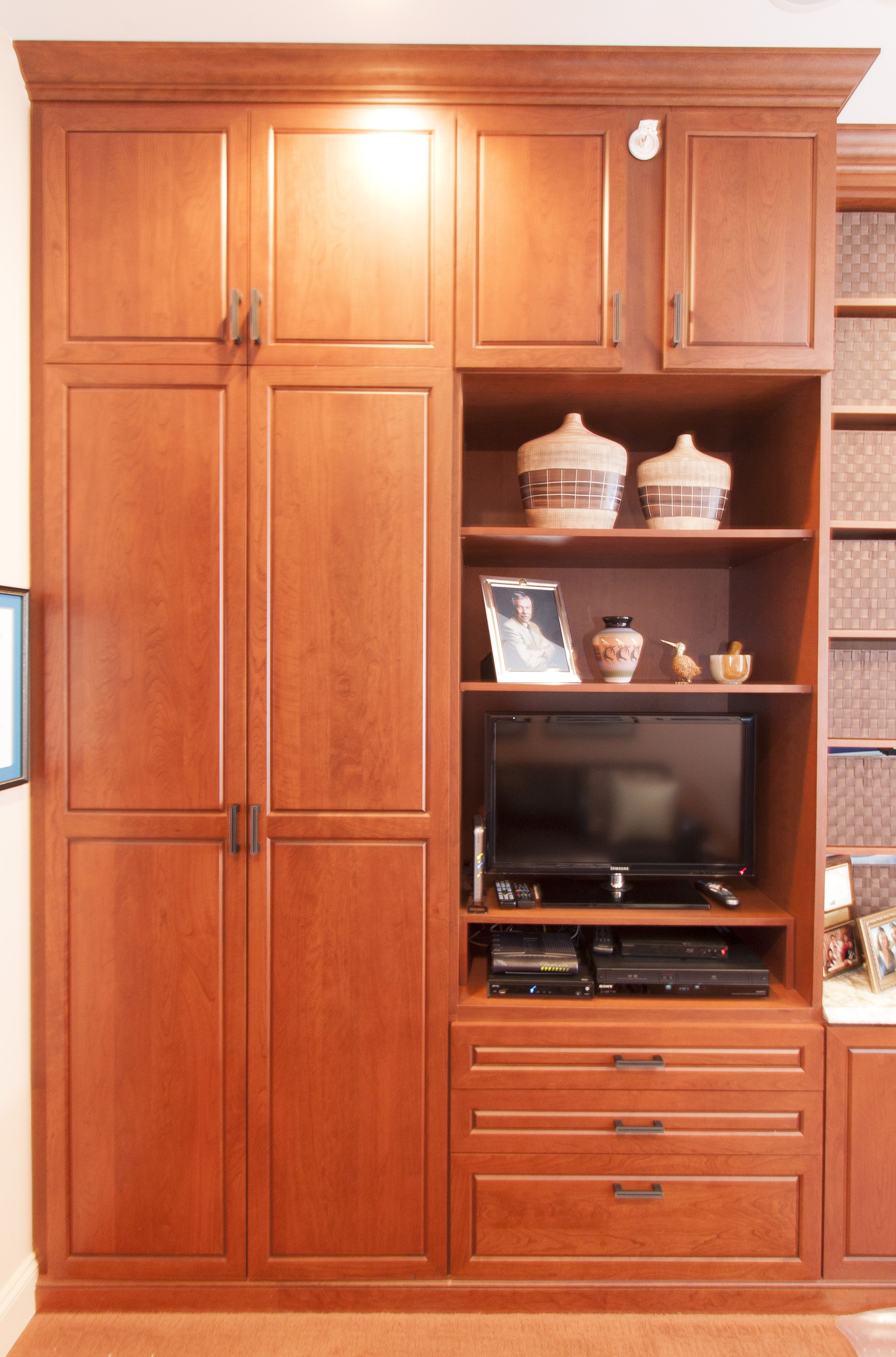Custom Office cabinetry in cherry wood with medium tone ...