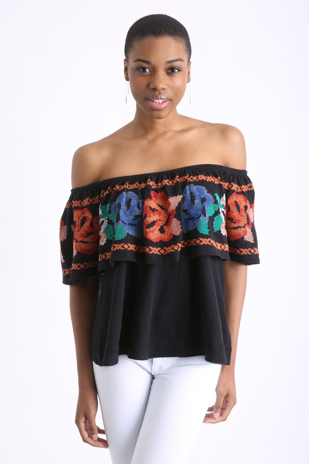 a91cfba2a93 Free People Floral Flounce Off-Shoulder Top | South Moon Under | eye ...