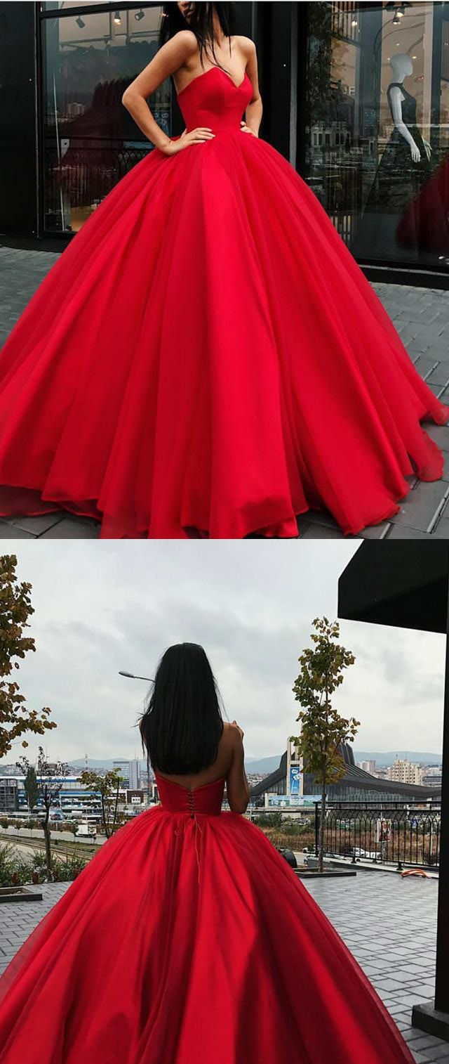 Red ball gown wedding dress  BurgundyRed Strapless Wedding Dress Ball Gown with Sweetheart