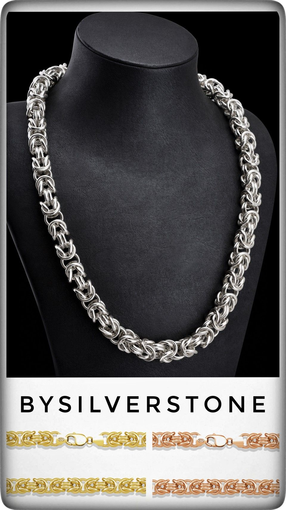 Silver Viking Byzantine Chain, Silver Chunky Chain Necklace
