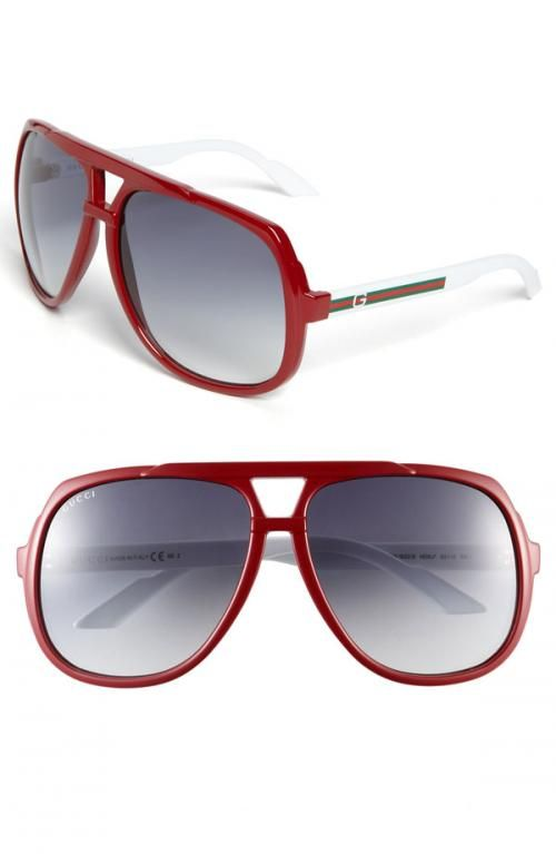 aafd95327932 Gucci Logo Temple Aviator Sunglasses Red White One