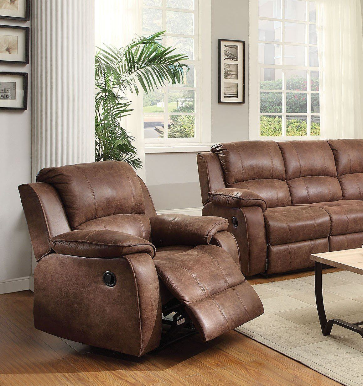 Acme Zanthe 2 Tone Brown Padded Suede Recliner Chair 51442